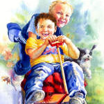 painting of boys playing with little red wagon