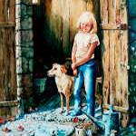 painting of child with dog