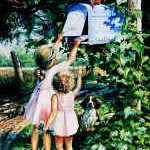 painting of girls mailing a letter to grandma