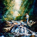 painting of boys fishing by waterfall creek