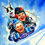 painting of kids tobogganing with dog