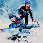 painting of children skating