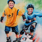 children skating on inline skates