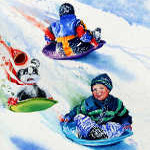 painting of children sledding in snow