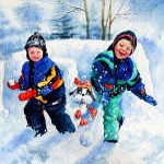 painting of kids throwing snowballs