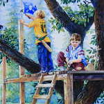 painting of boys building a tree house