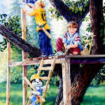 painting of boys playing in treehouse