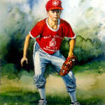 painting of boy playing baseball