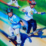 painting of boys on skateboards