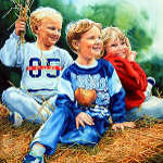 portrait painting of children playing on a hay bale