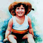 portrait of boy wearing straw hat