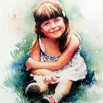 watercolor portrait of young girl in the grass