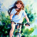 portrait painting of child riding a bike