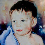 painting of child in bath towel