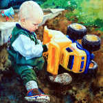 painting of child playing with toy truck