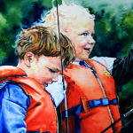 portrait painting of children telling fish tales