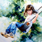 watercolor portrait of child on a swing