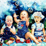 painting of babies watching soap bubbles