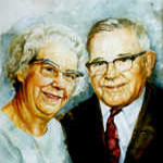 elderly couple watercolor portrait