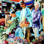 Cambridge outdoor farmer's market painting