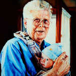 portrait painting of grandfather holding grandchild
