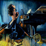 oil portrait painting at piano