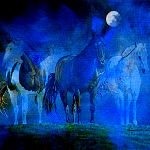 Painting of three horses in a msty blue fog