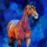 painting of horse in the mist