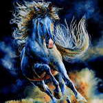 painting of horse running in darkness