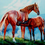 Painting of a mare and foal