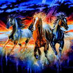 painting of wild horses running at sunset