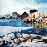 Peggy's Cove East Coast maritime winter painting