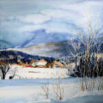 winter valley farm painting