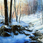 winter creek in woods painting