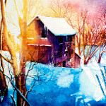 colorful winter barn painting