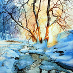 winter sunset though trees painting